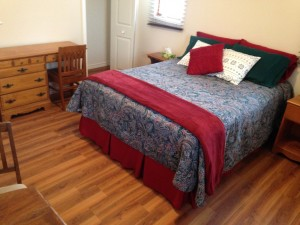 Room #1 at Warbler's Roost Country Inn includes queen size bed, desk and table